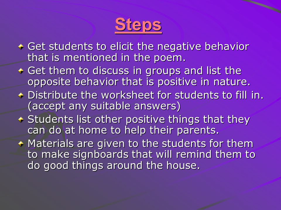 Steps Get students to elicit the negative behavior that is mentioned in the poem.