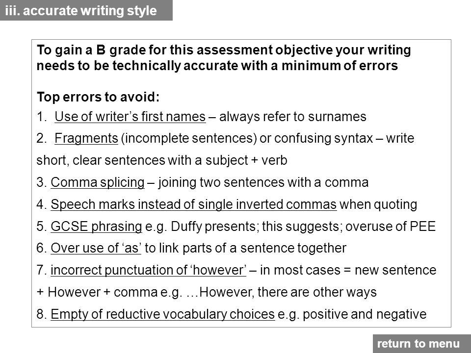 iii. accurate writing style