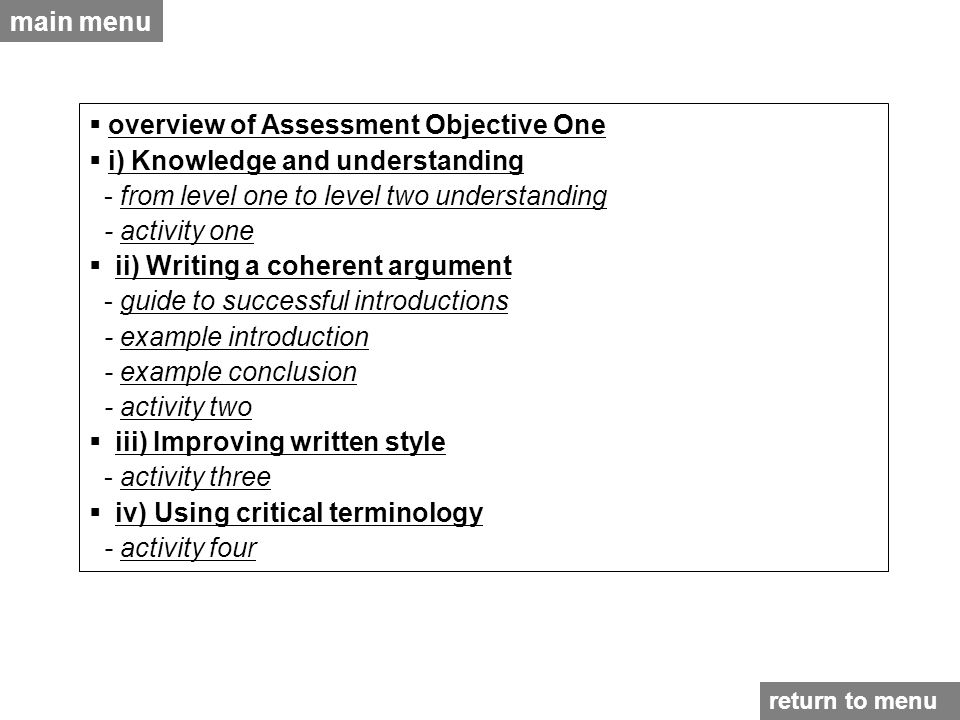 overview of Assessment Objective One i) Knowledge and understanding