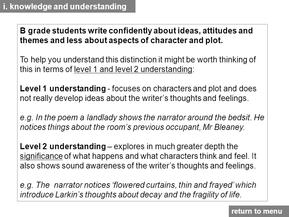 i. knowledge and understanding