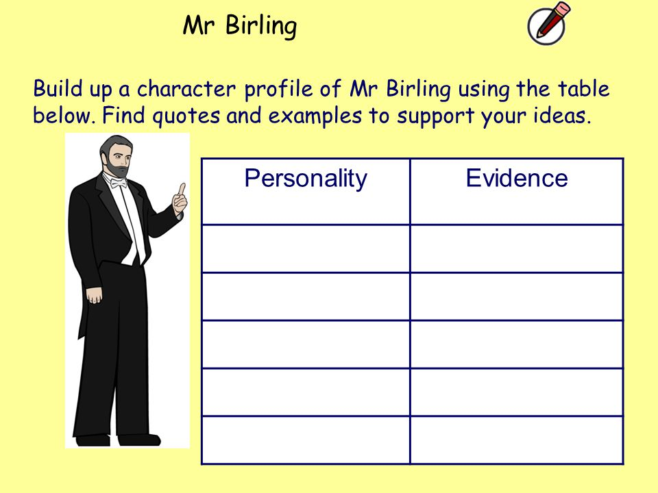 Mr Birling Personality Evidence