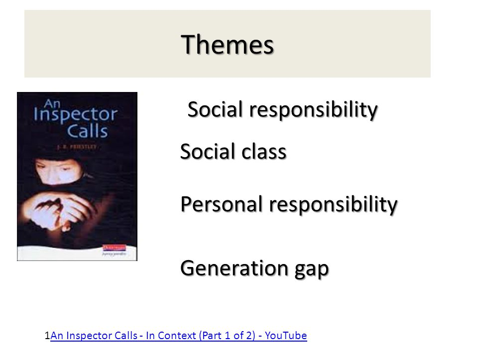 an inspector calls social responsibility essay Read this essay on social classes in an inspector calls issues of social division in an inspector calls calls is a parable on the responsibility of the.