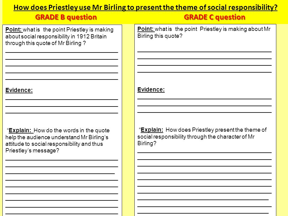 How does Priestley use Mr Birling to present the theme of social responsibility GRADE B question GRADE C question