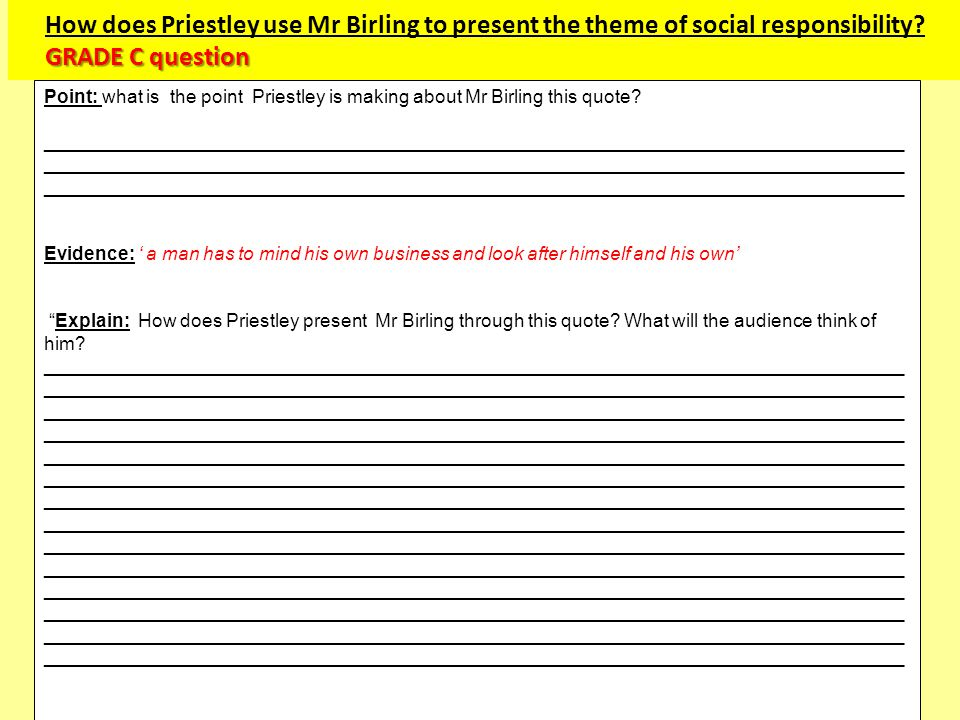How does Priestley use Mr Birling to present the theme of social responsibility GRADE C question