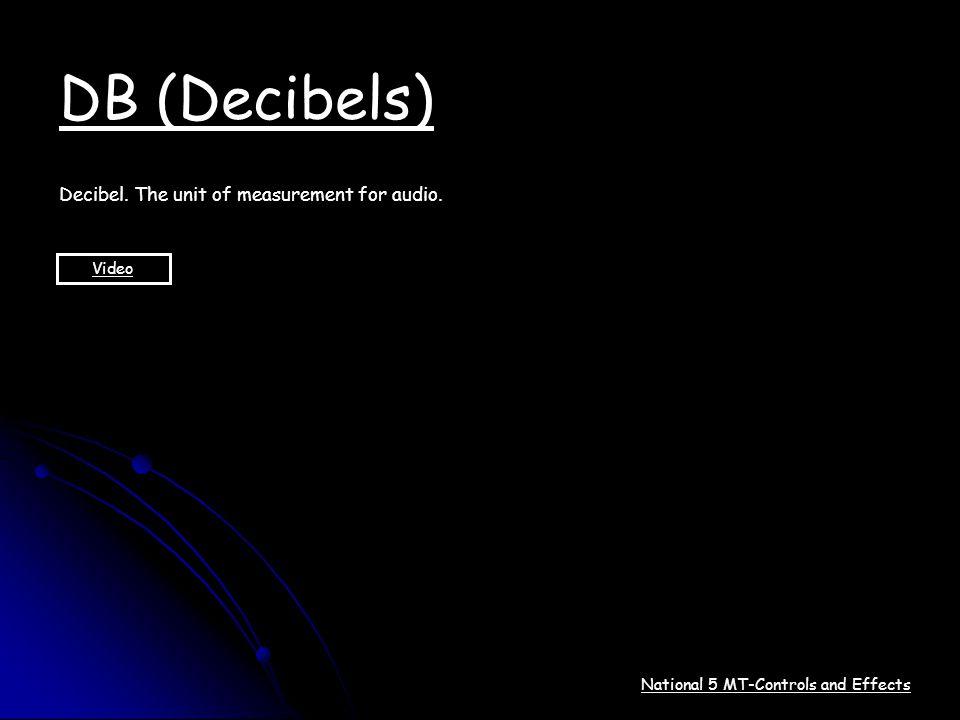 DB (Decibels) Decibel. The unit of measurement for audio. Video