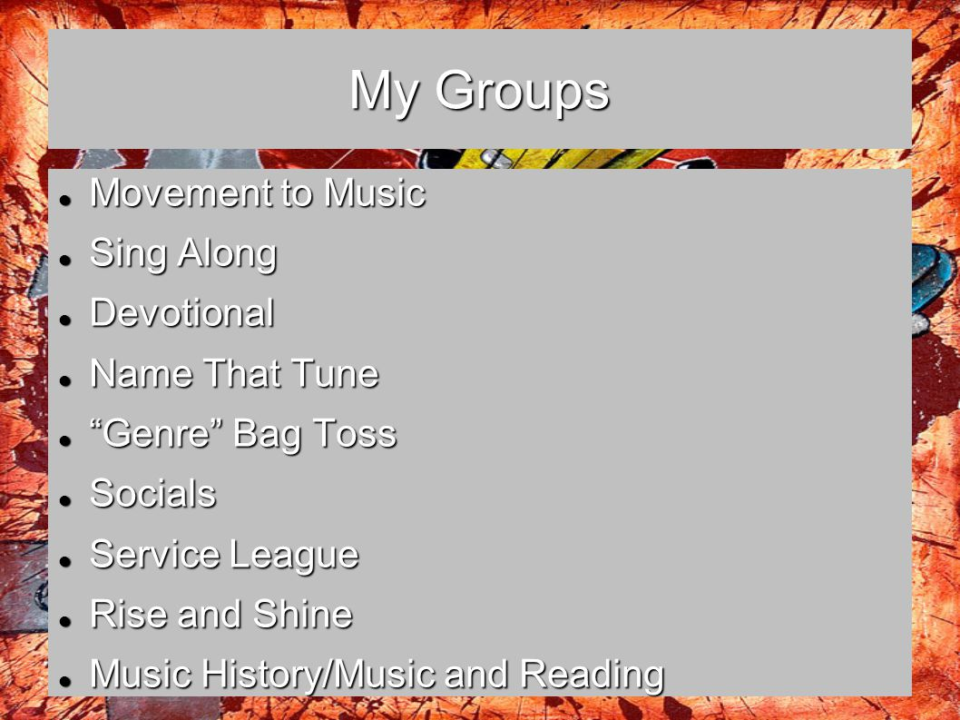My Groups Movement to Music Sing Along Devotional Name That Tune