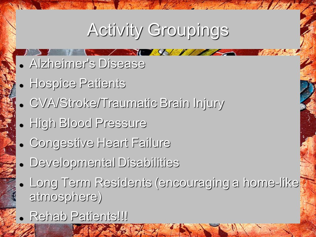Activity Groupings Alzheimer s Disease Hospice Patients