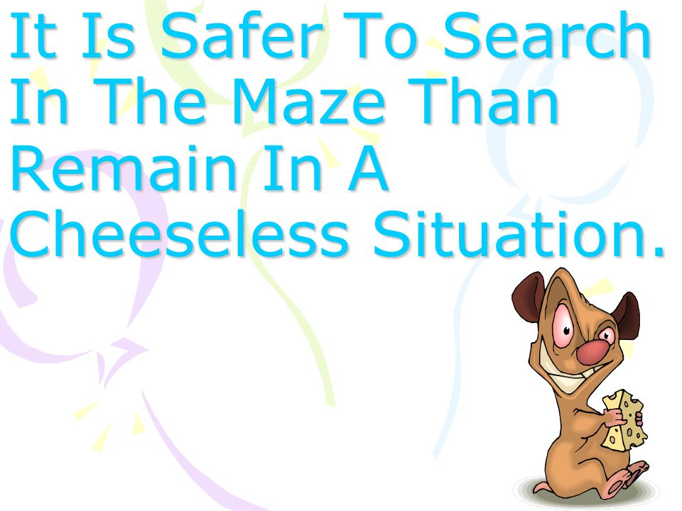 It Is Safer To Search In The Maze Than Remain In A Cheeseless Situation.