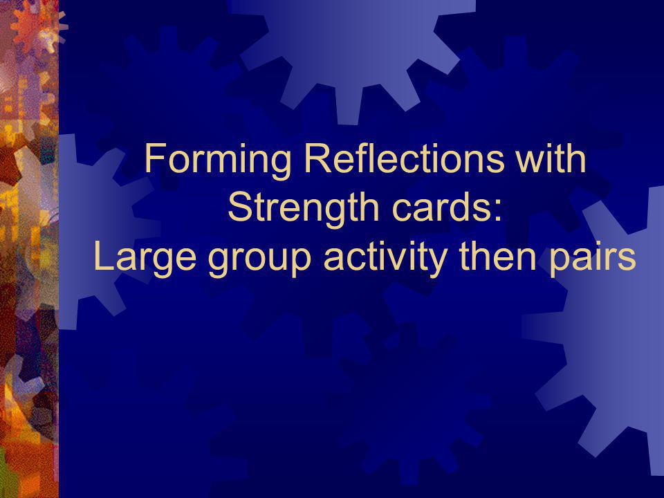 Forming Reflections with Strength cards: Large group activity then pairs