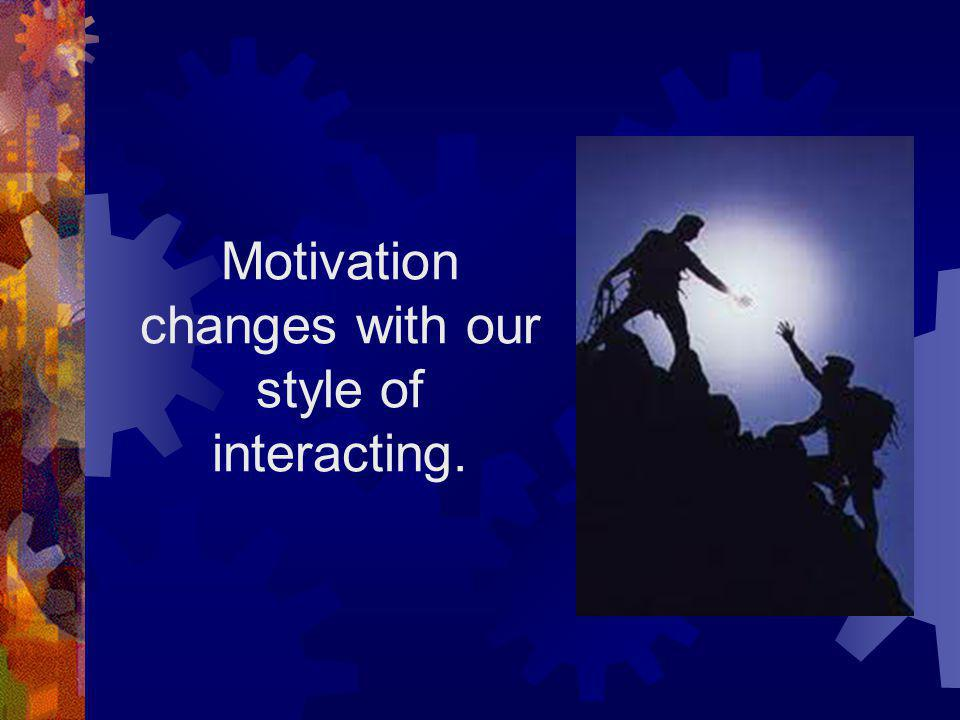 Motivation changes with our style of interacting.