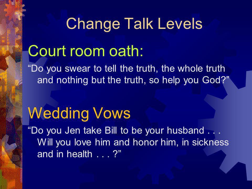 Change Talk Levels Court room oath: Wedding Vows