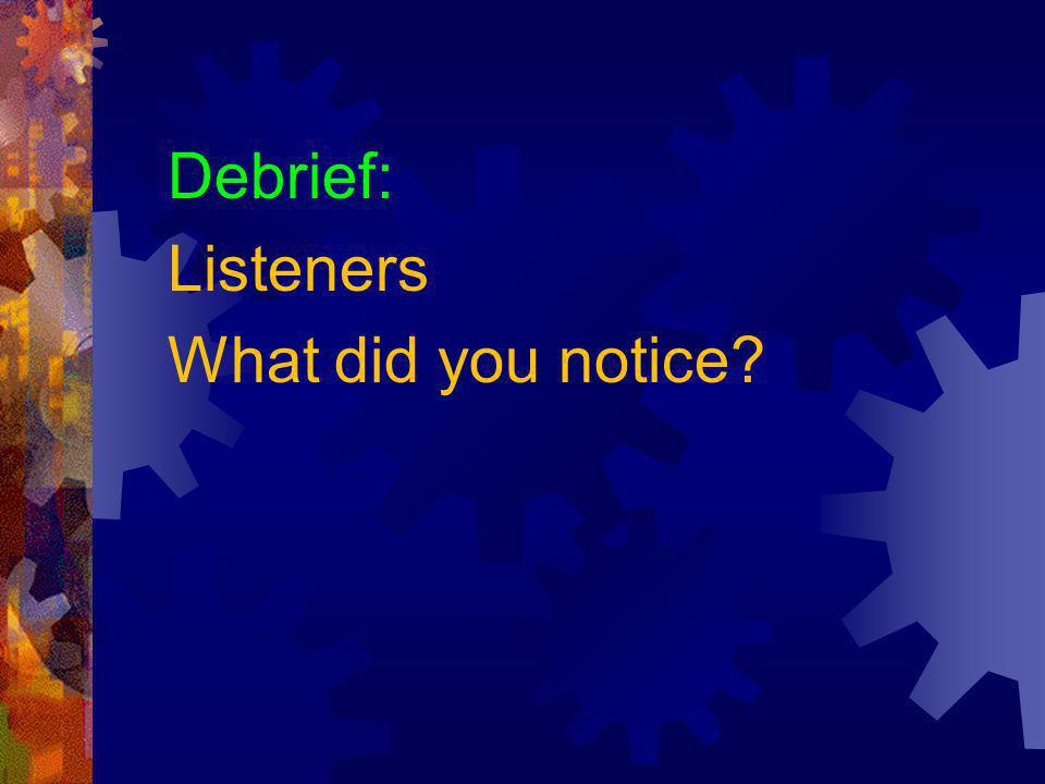Debrief: Listeners What did you notice