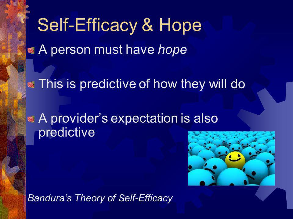 Self-Efficacy & Hope A person must have hope