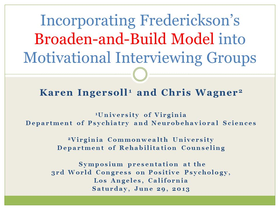 Incorporating Frederickson's Broaden-and-Build Model into Motivational Interviewing Groups