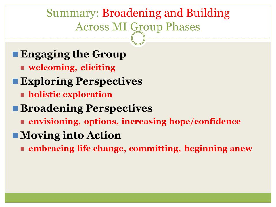 Summary: Broadening and Building Across MI Group Phases