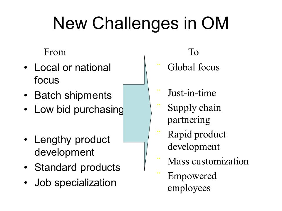 New Challenges in OM Local or national focus Batch shipments