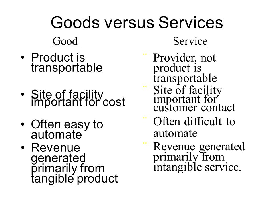 Goods versus Services Product is transportable