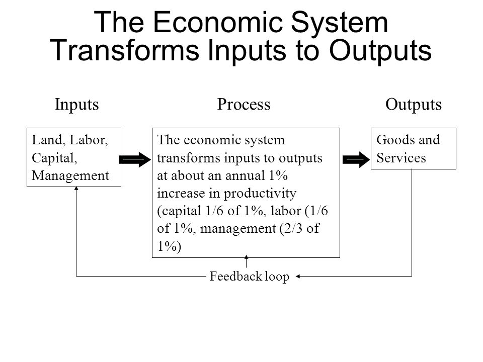 The Economic System Transforms Inputs to Outputs