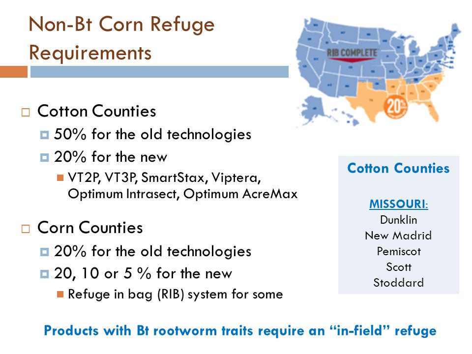 Non-Bt Corn Refuge Requirements