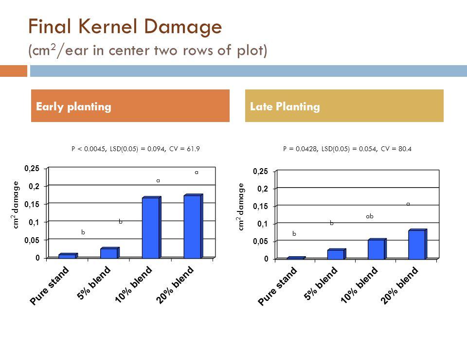 Final Kernel Damage (cm2/ear in center two rows of plot)