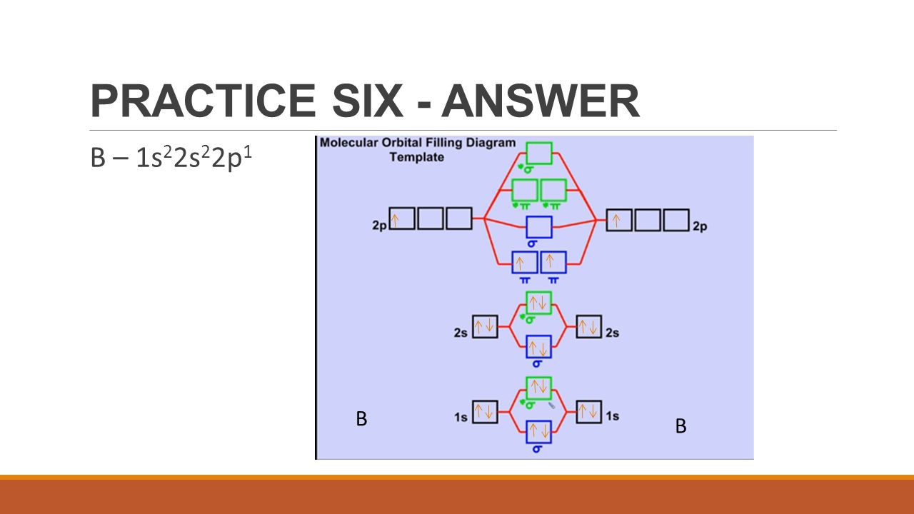 PRACTICE SIX - ANSWER B – 1s22s22p1 B B