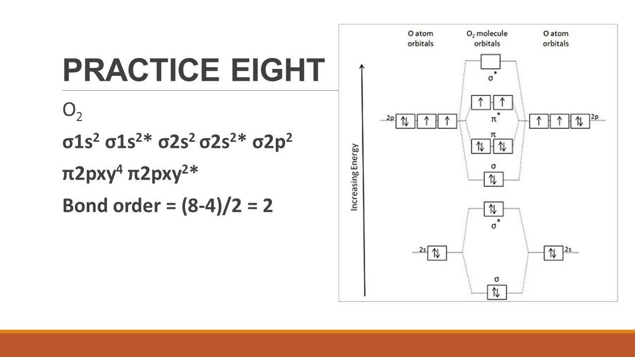 PRACTICE EIGHT O2 σ1s2 σ1s2* σ2s2 σ2s2* σ2p2 π2pxy4 π2pxy2*
