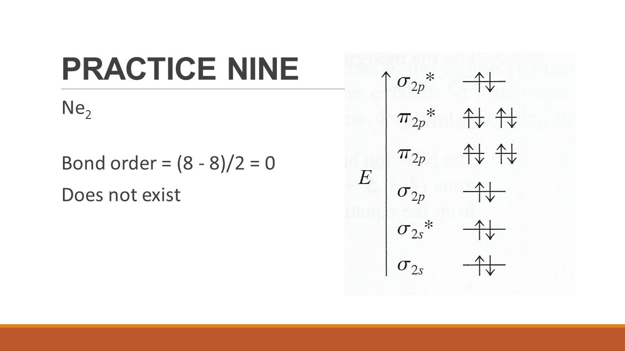 PRACTICE NINE Ne2 Bond order = (8 - 8)/2 = 0 Does not exist