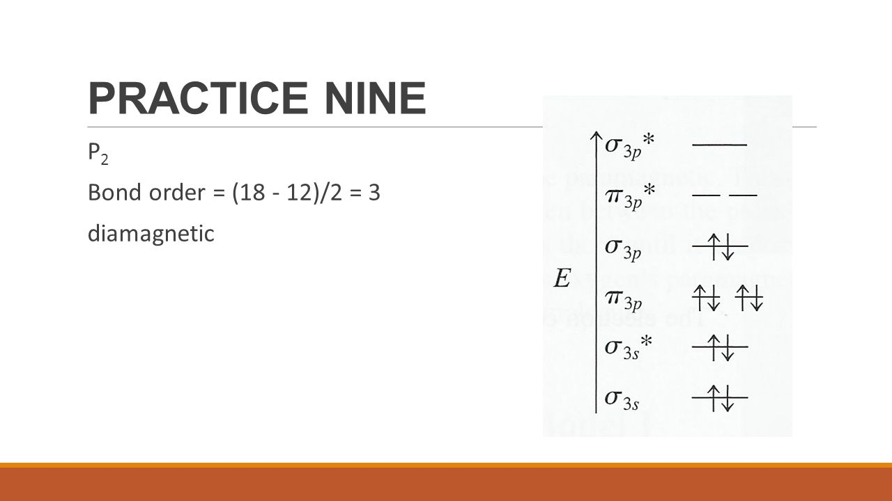 PRACTICE NINE P2 Bond order = (18 - 12)/2 = 3 diamagnetic