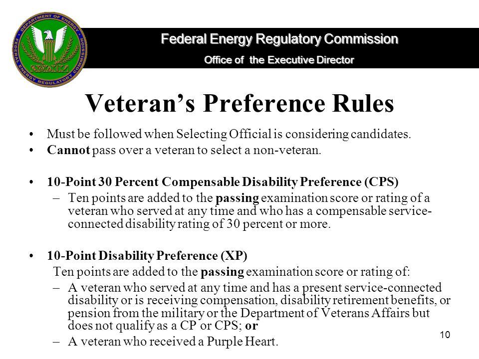 Veteran's Preference Rules
