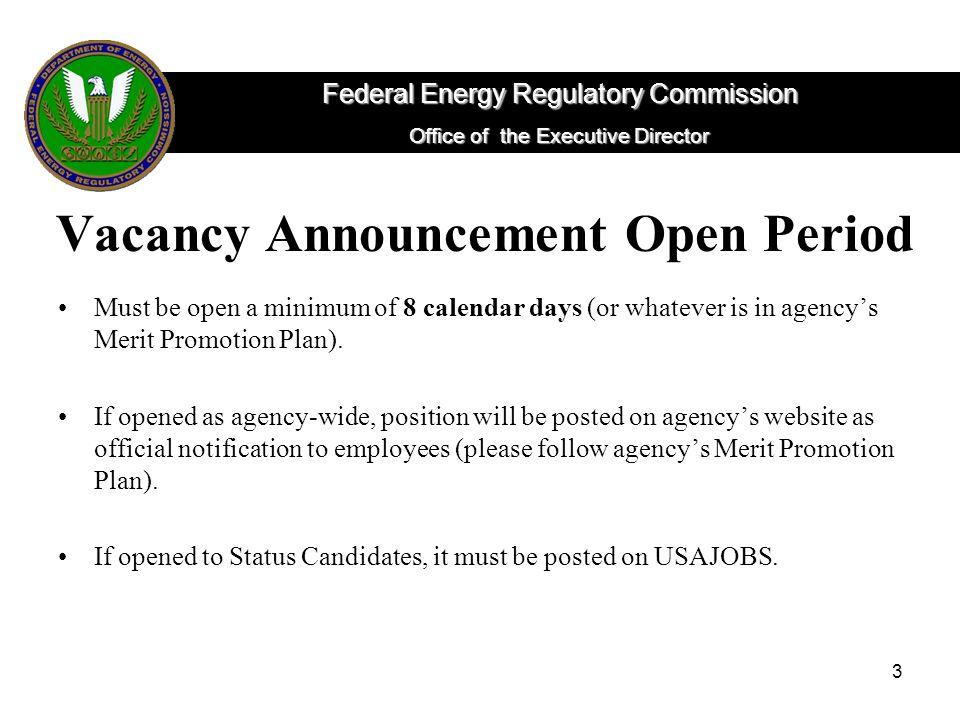 Vacancy Announcement Open Period