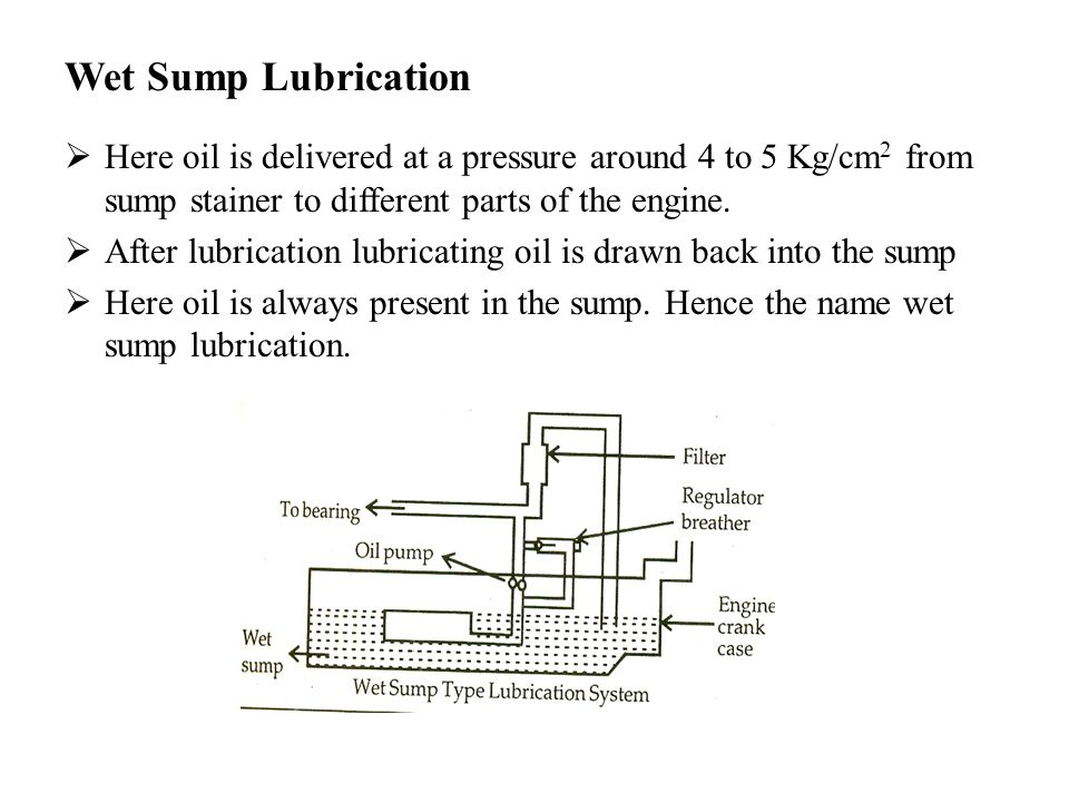 Wet Sump Lubrication Here oil is delivered at a pressure around 4 to 5 Kg/cm2 from sump stainer to different parts of the engine.