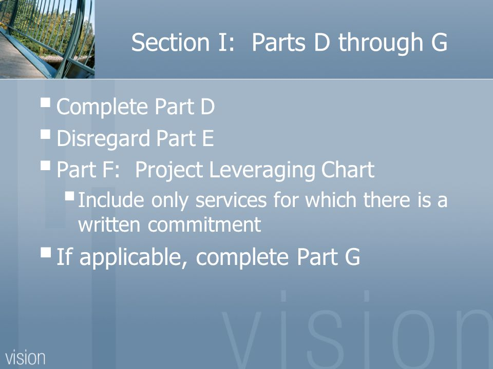 Section I: Parts D through G