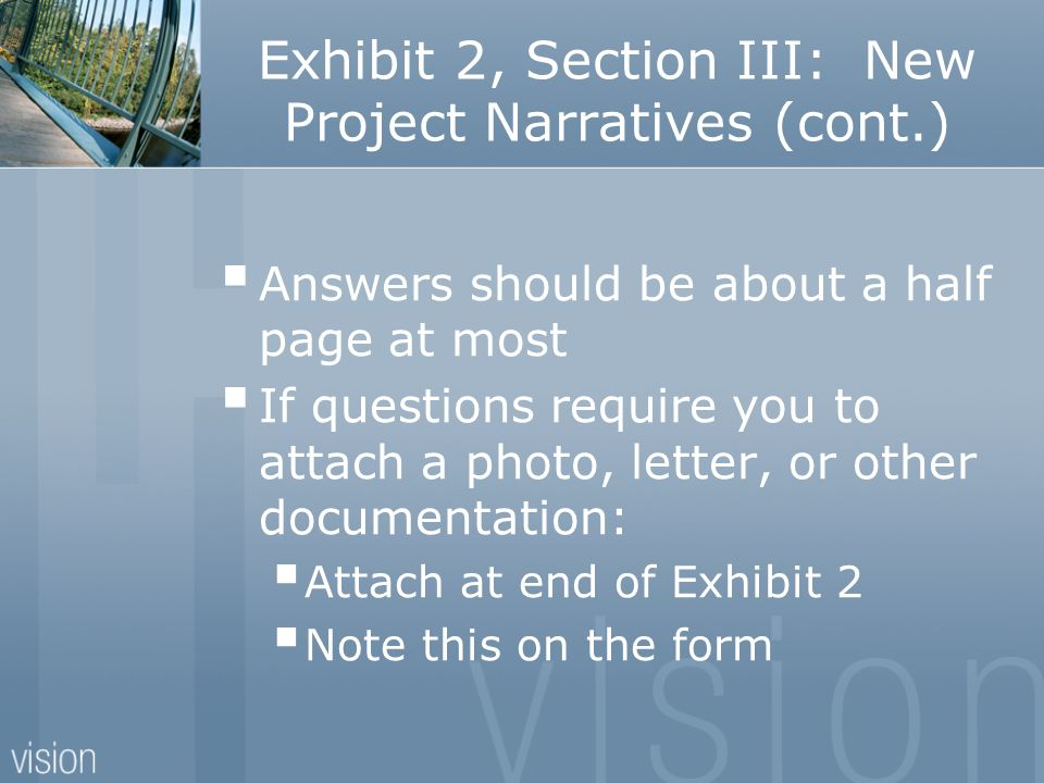 Exhibit 2, Section III: New Project Narratives (cont.)
