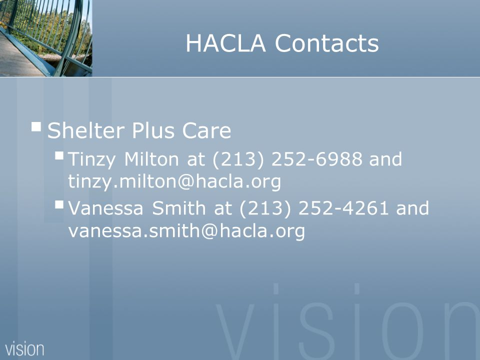 HACLA Contacts Shelter Plus Care