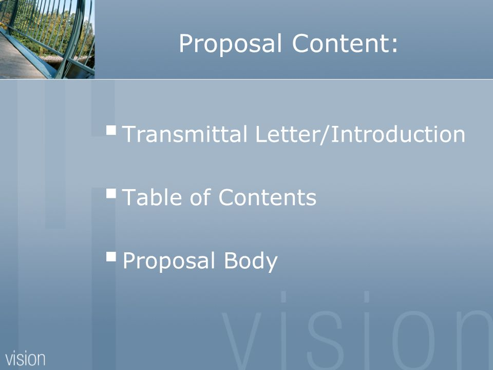 Proposal Content: Transmittal Letter/Introduction Table of Contents