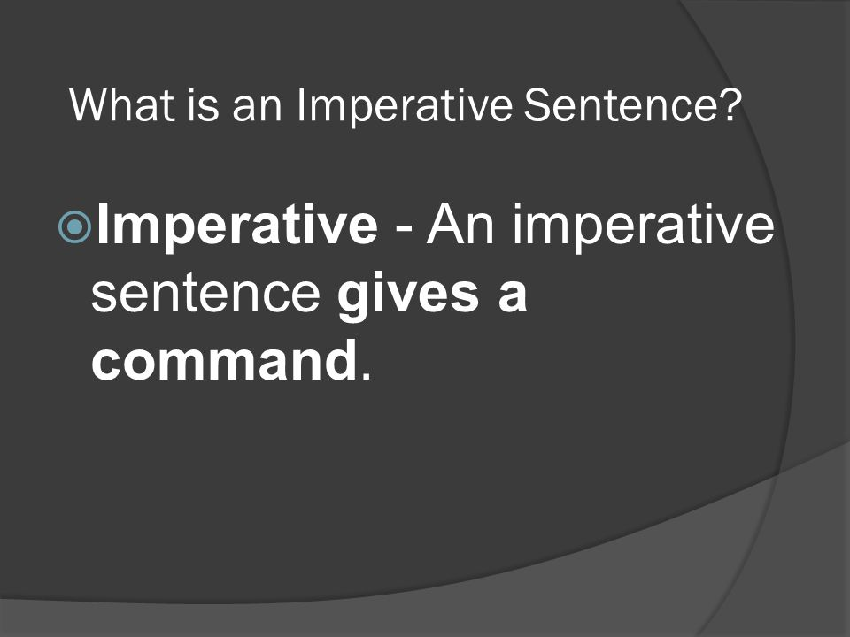 What is an Imperative Sentence