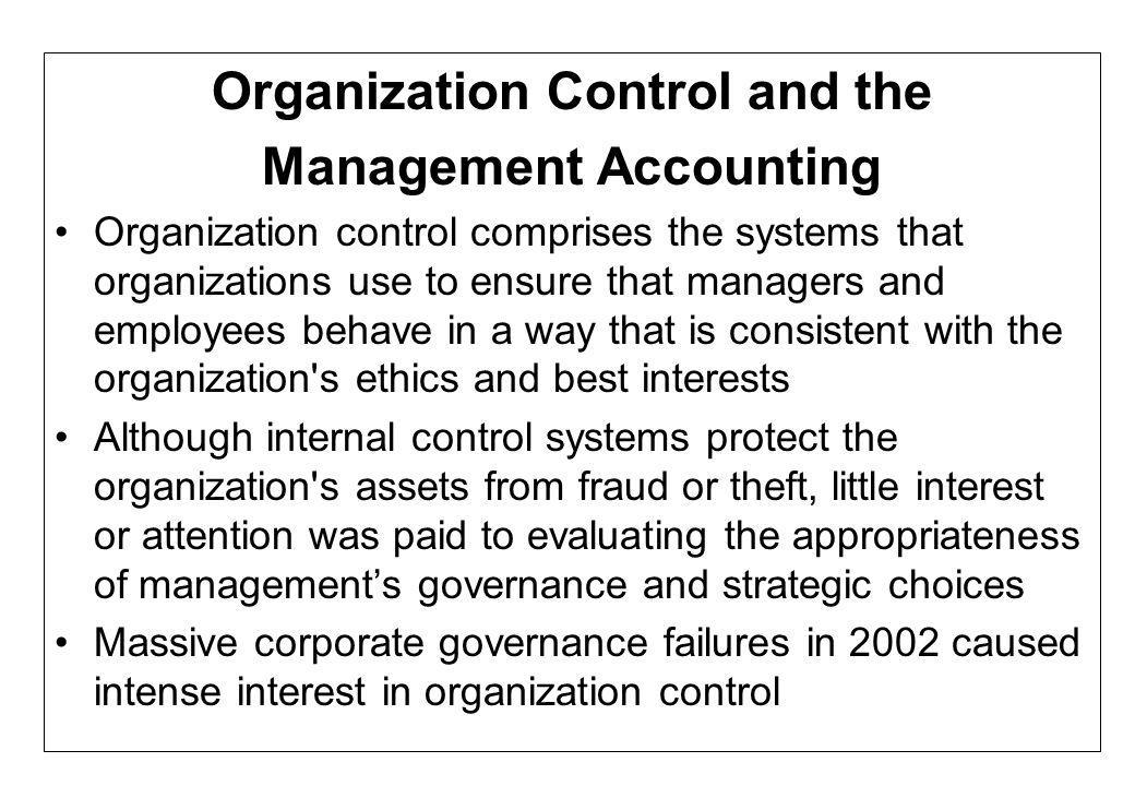 Organization Control and the Management Accounting