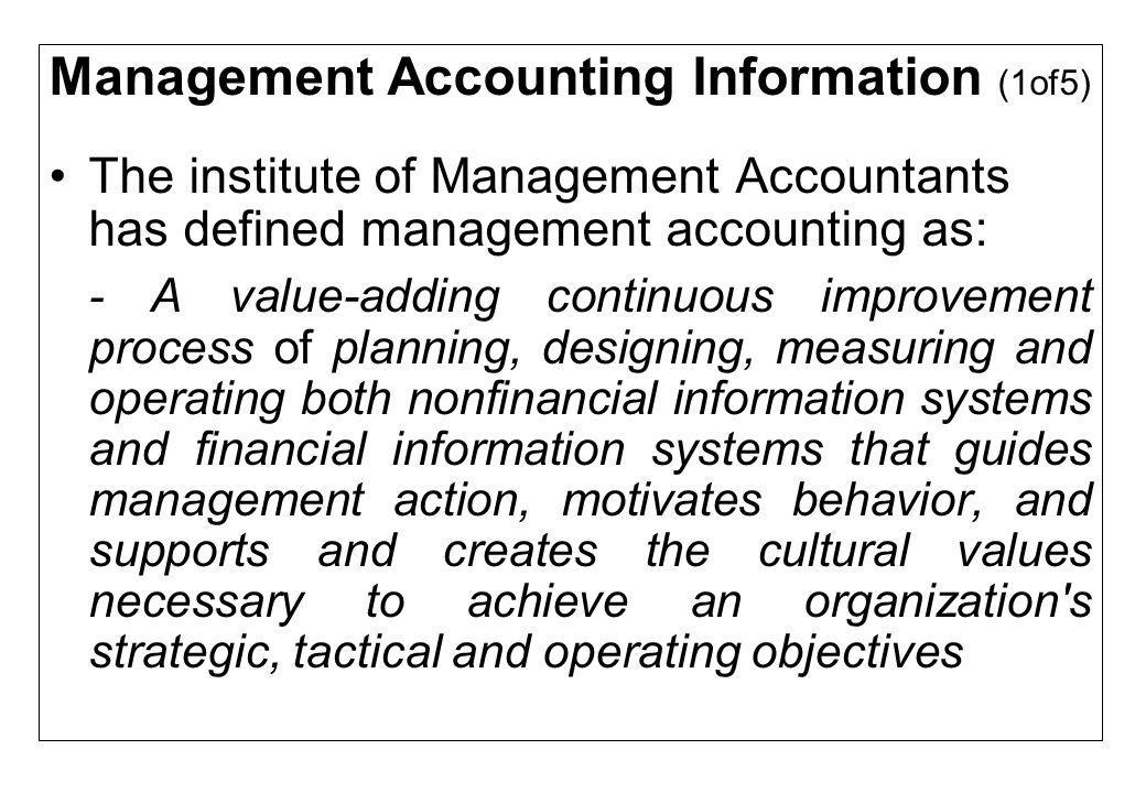 Management Accounting Information (1of5)