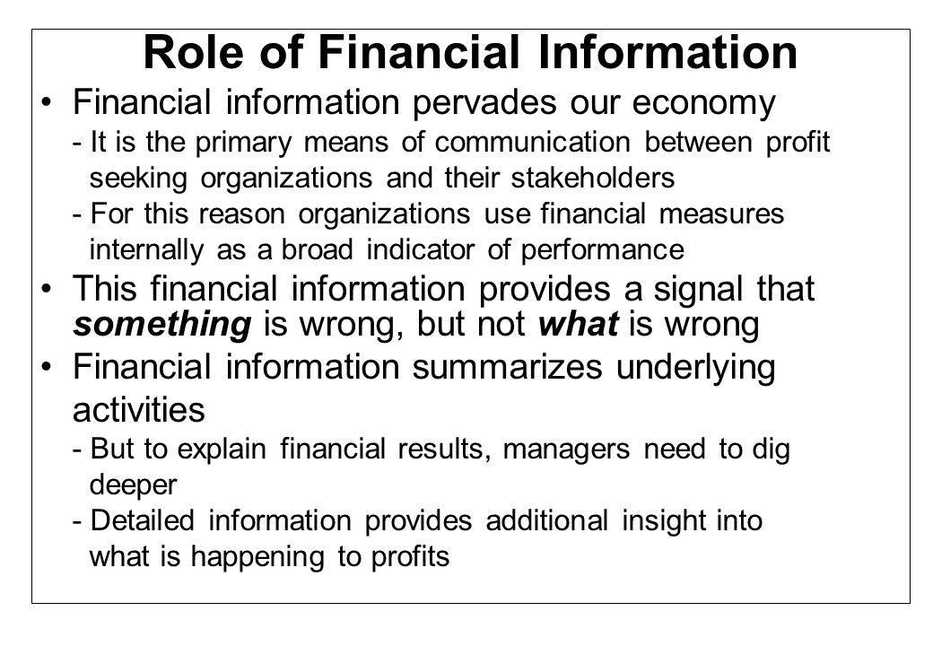 Role of Financial Information