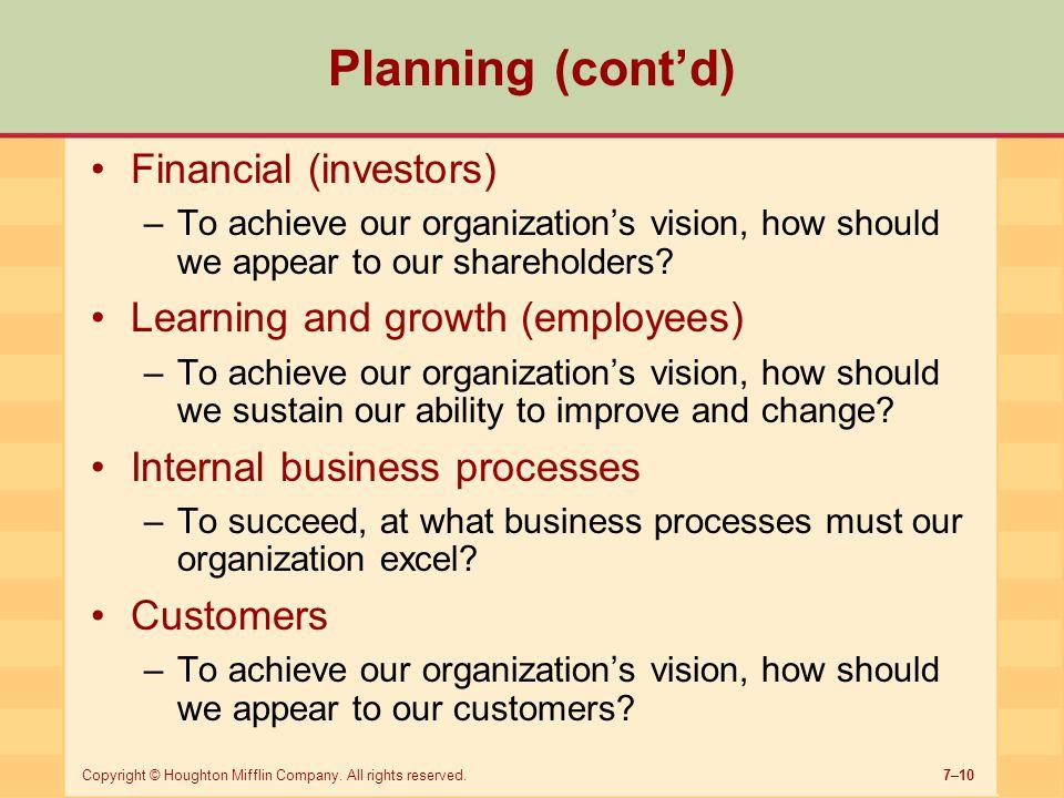 Planning (cont'd) Financial (investors)
