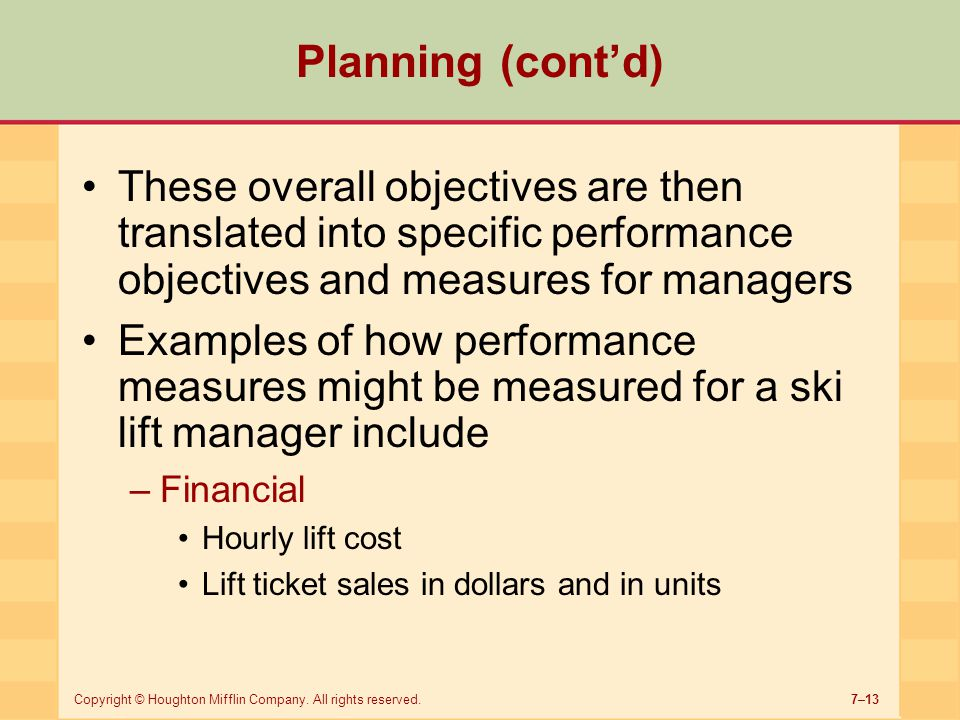 Planning (cont'd) These overall objectives are then translated into specific performance objectives and measures for managers.