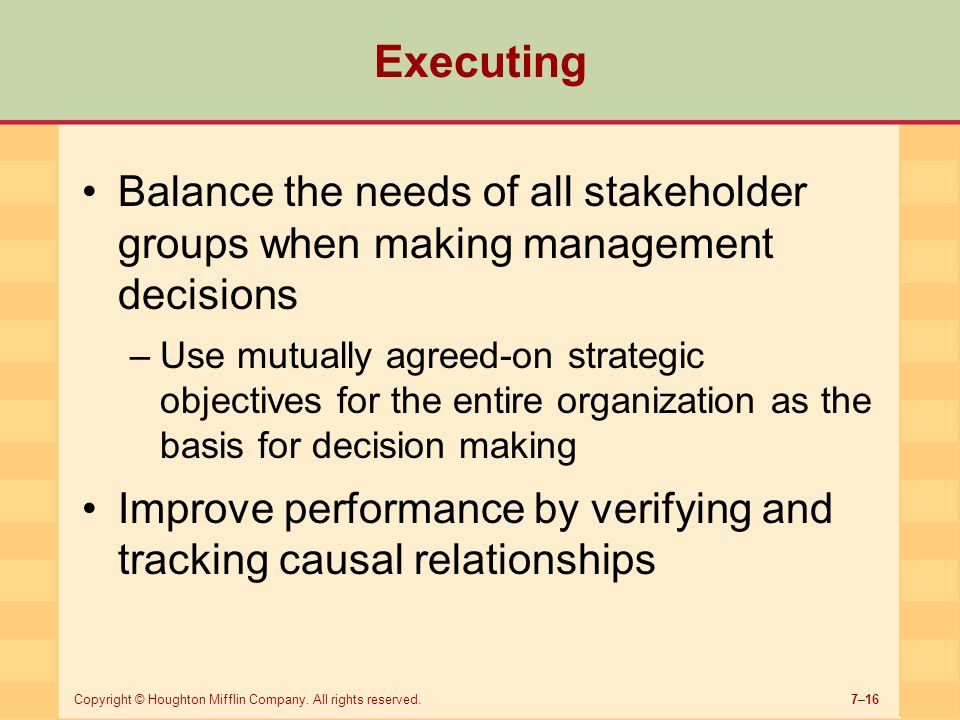 Executing Balance the needs of all stakeholder groups when making management decisions.