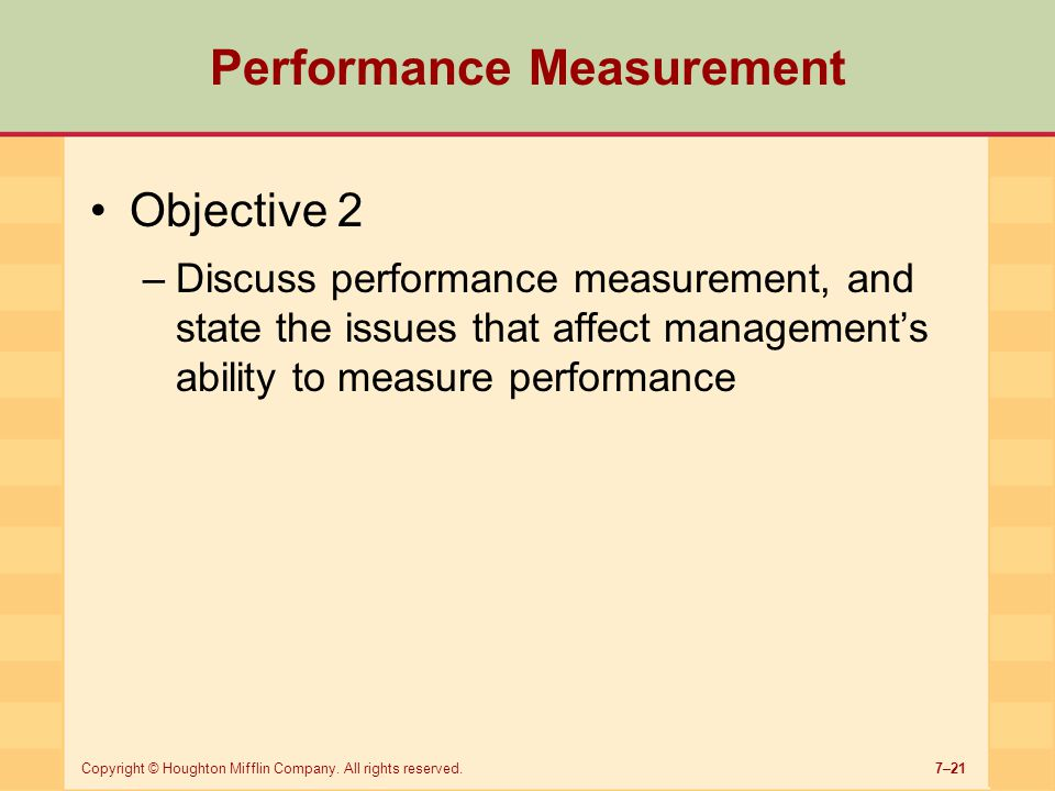 evaluation and objective performance measures 1 firms commonly use supervisor ratings to evaluate employees when objective  performance measures are unavailable supervisor ratings are subjective and.
