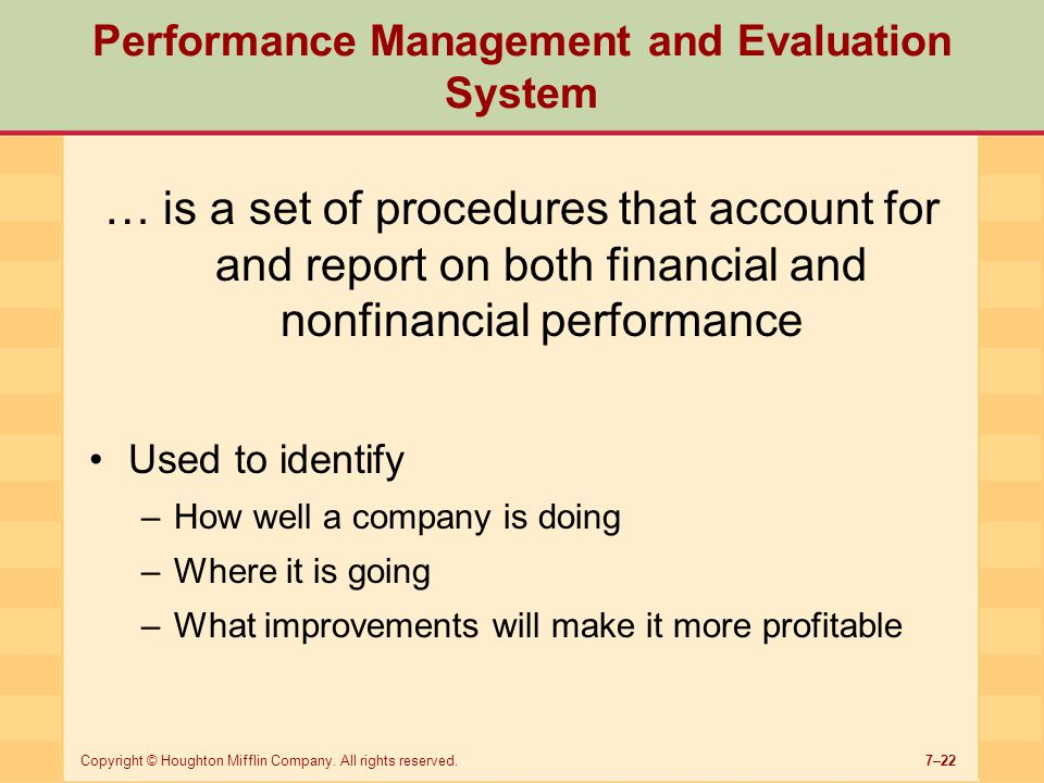 Performance Management and Evaluation System