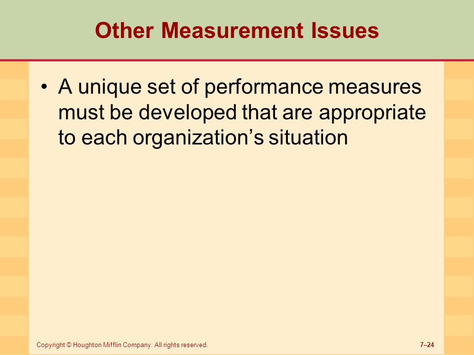 Other Measurement Issues