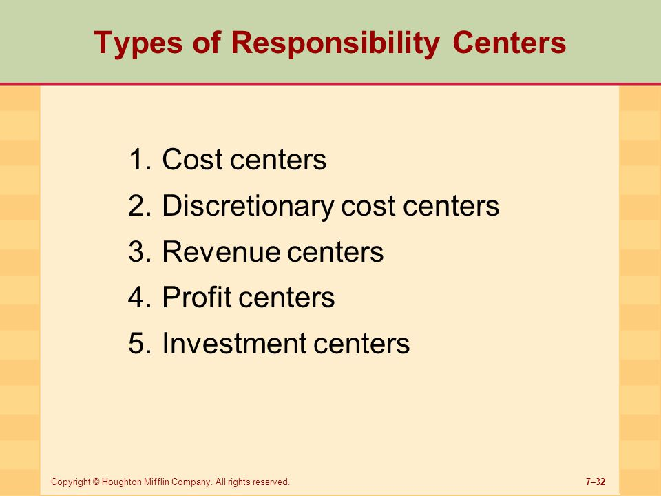 Types of Responsibility Centers