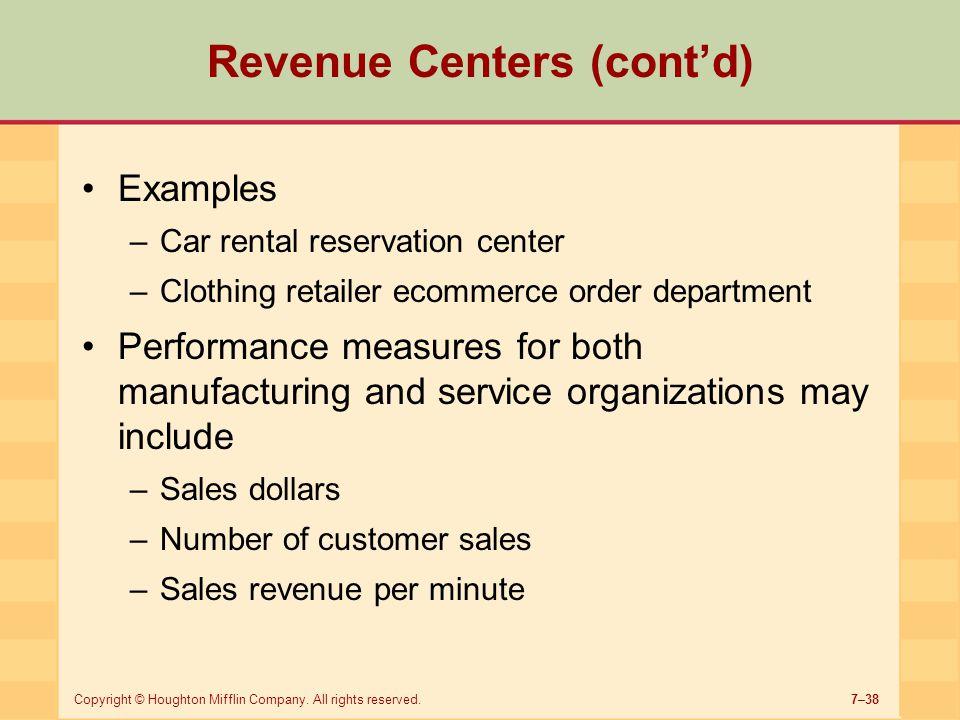 Revenue Centers (cont'd)