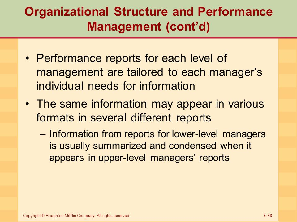 Organizational Structure and Performance Management (cont'd)