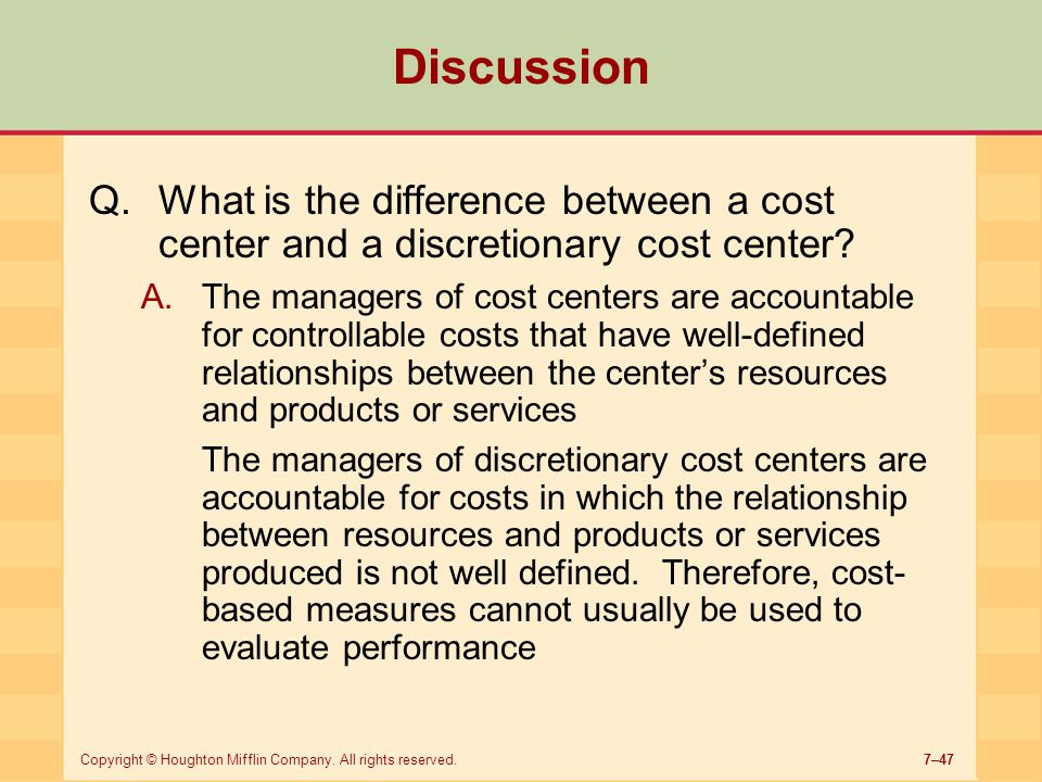 Discussion What is the difference between a cost center and a discretionary cost center