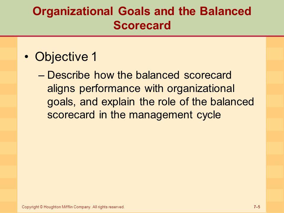 Organizational Goals and the Balanced Scorecard